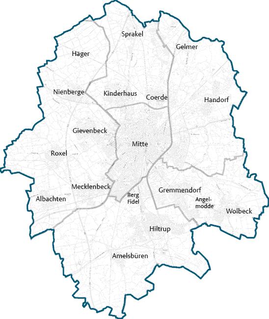 Leipzig Karte Mit Stadtteilen.Muenster De Munster In Westfalen Stadtteile